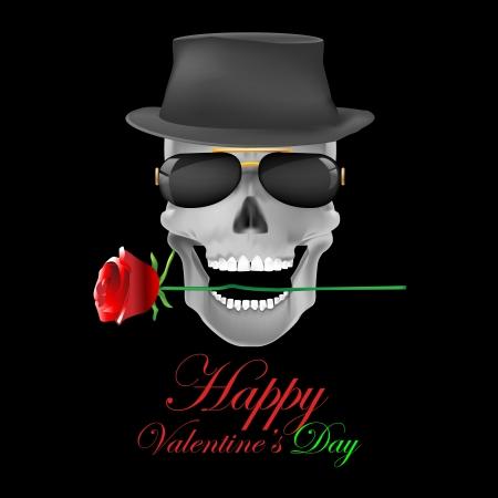 red rose black background:  skull & rose on dark background.