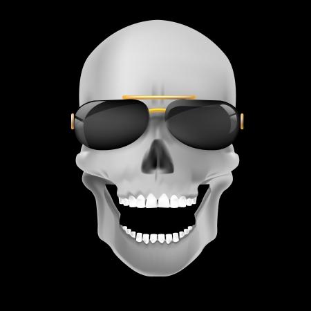 deaths head: Human skull on dark background