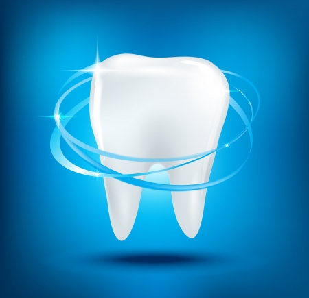 carious: 3d  teeth protection on blue background.