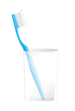 preening:  Blue Toothbrush in glass on white Stock Photo