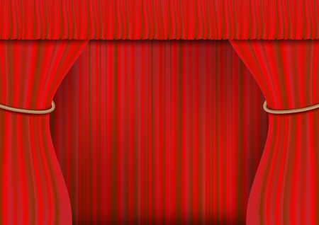 3d Red theater curtain background. photo