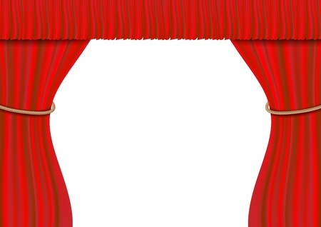 3d Red theater curtain on white Stock Photo - 17619866