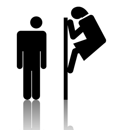 toilet symbol: attractive sign, illustration on white Stock Photo