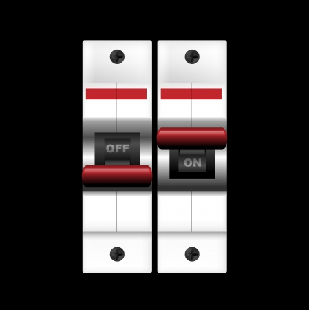 breaking off: Circuit breakers (on-off) on dark. illustration Stock Photo