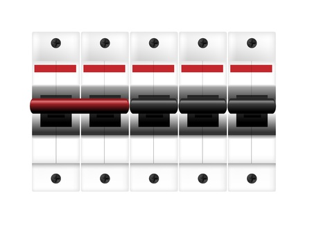 breaker: Circuit breakers on white. illustration