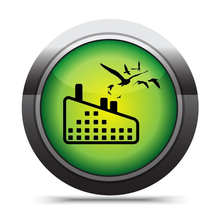 green factory icon on white. Stock Photo - 17619887