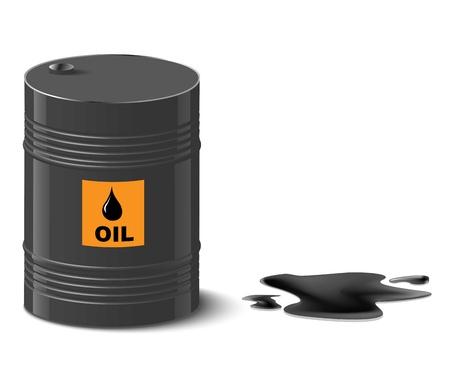 oil spill: oil spill and oil barrel vector illustration