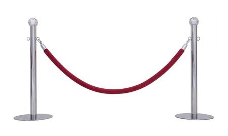 velvet rope barrier:  Barrier rope isolated on white