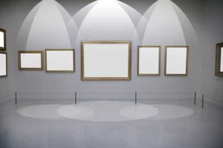 Gallery with empty frames on wall  photo