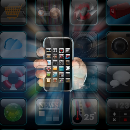 Hand holding Smartphone apps,touchscreen on dark background  photo