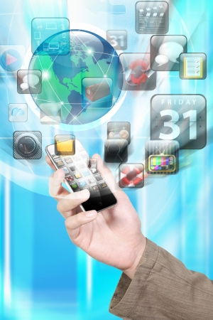 Hand holding Smartphone apps,touchscreen Stock Photo - 18846617