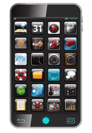 illustration of apps icon set on smart phone Stock Illustration - 18846616