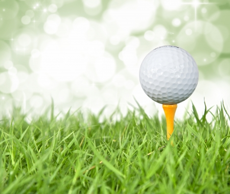 golf green: close up Golf ball on tee  Stock Photo