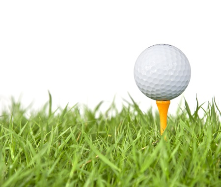 blue ball: golf ball and tee grass  on white