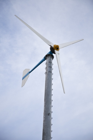 wind turbines  on blue sky photo