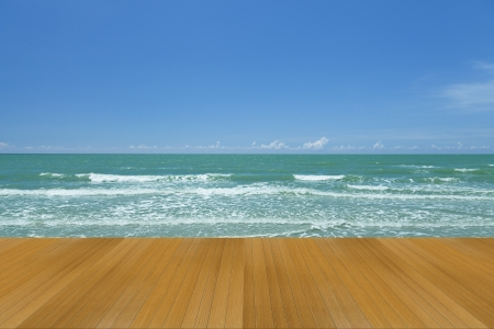 wood terrace with sea and sky  photo