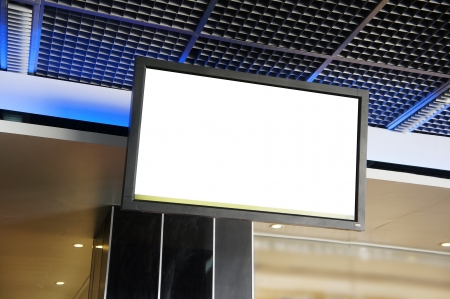 lcd display: LCD TV with empty copy space at airport