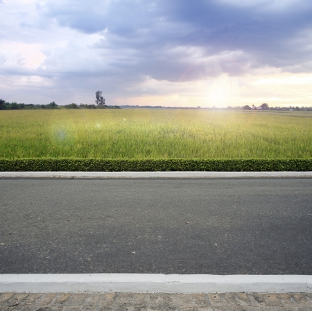 county side: Road side county view  background Stock Photo