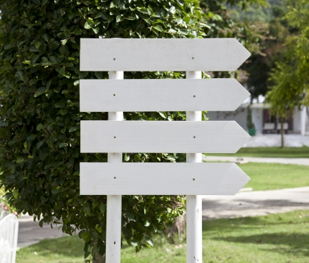 whint wooden sign on garden photo