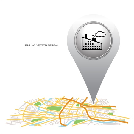 factory pointer pin map location icon  Vector