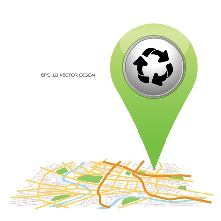 recycle sign pointer on map location   Stock Vector - 20667230
