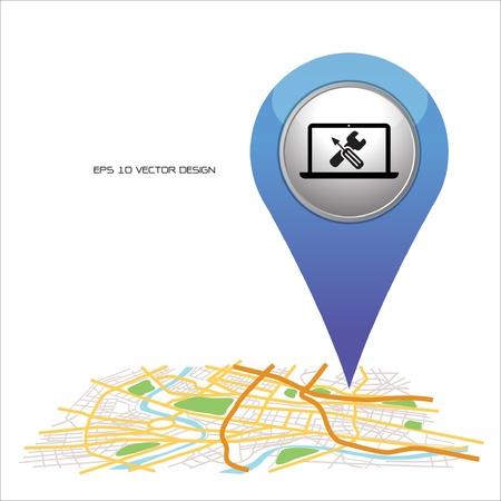 transporte escolar: puntero del ordenador portátil azul en el mapa de ubicación