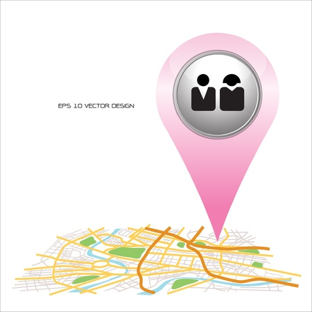 peoples,  pin pointer on map location   Vector