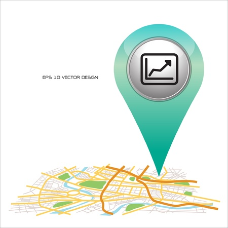check in: chart ,  pin pointer on map location   Illustration