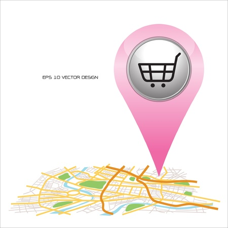 shopping,  pin pointer on map location   Vector