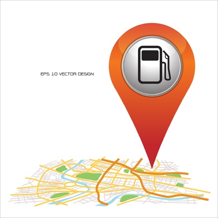 gas station,  pin pointer on map location   Vector
