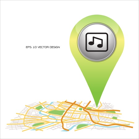 music,  pin pointer on map location   Stock Vector - 20731959