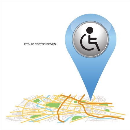 disabled,  pin pointer on map location   Vector