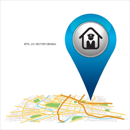 police,  pin pointer on map location   Vector