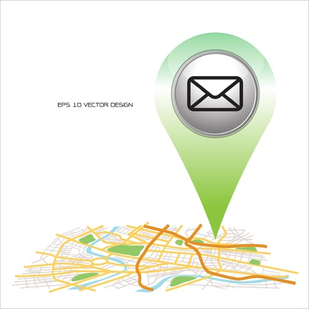 pin point: mail, pin pointer on map location   Illustration