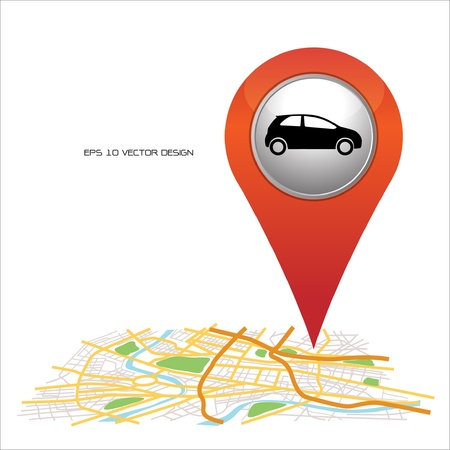 find: car,  pin pointer on map location