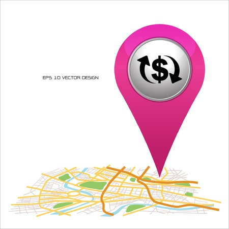 pin icon: money pointer on map location   Illustration