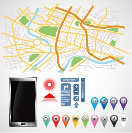 road map: gps smartphone equipment on white