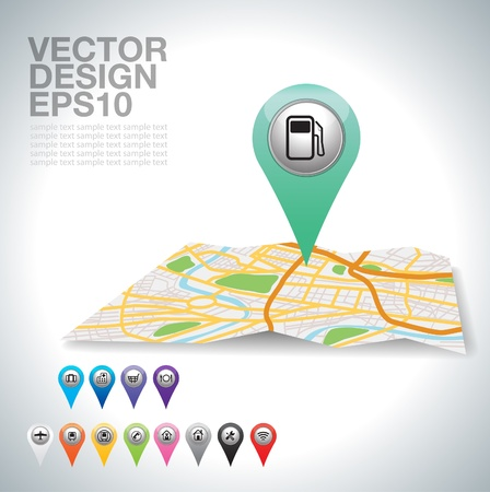 street map:  green gas station on map   Illustration