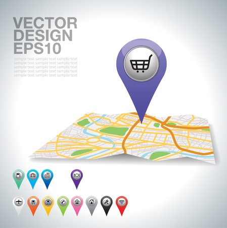 purple shopping cart pointer on map location   Vector