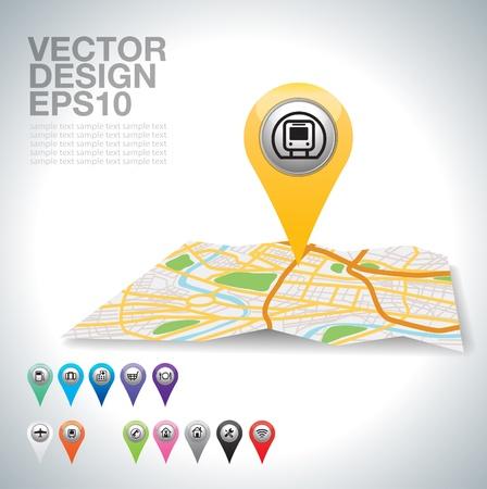 ponteiro amarelo, transporte no mapa da cidade Ilustra��o