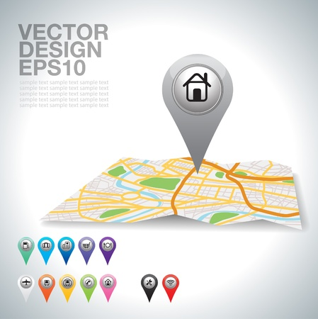 navigation: gray Pointer pin up icon with house on white   Illustration