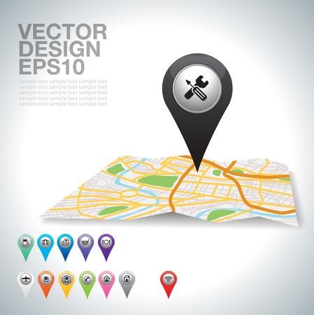 black pointer , Cross services sign on white Vector Illustration