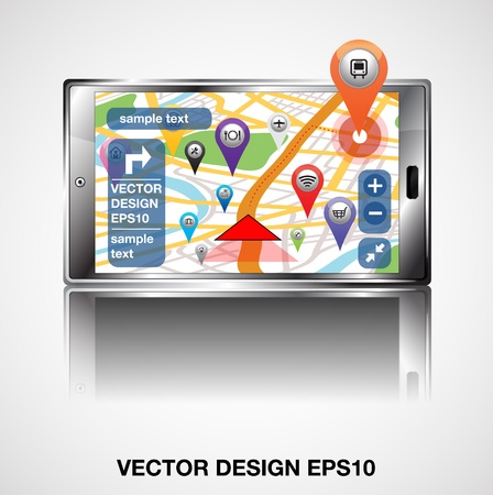 Smart Phones with GPS Navigation Application   Vector