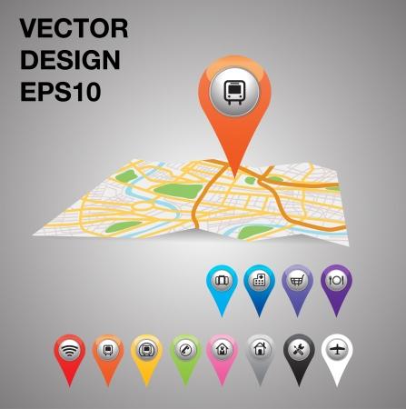 orange pointer, transport on city map Stock Vector - 20732061