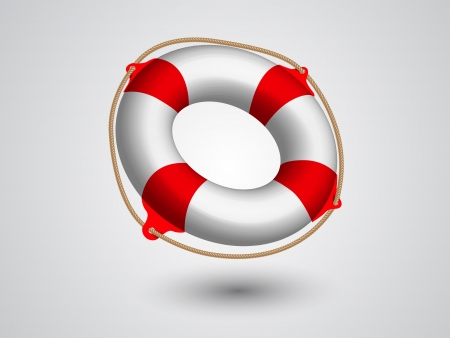 life preserver: lifebuoy  and rope  Isolated