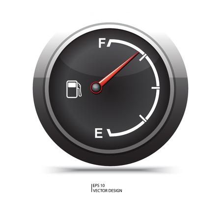 gas gauge: black gas gage on white background