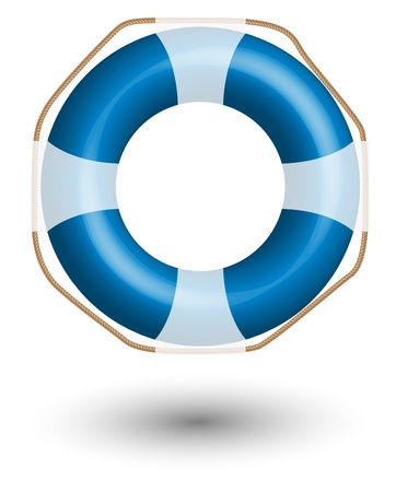 Blue Life Buoy isolated on white background.  Illustration