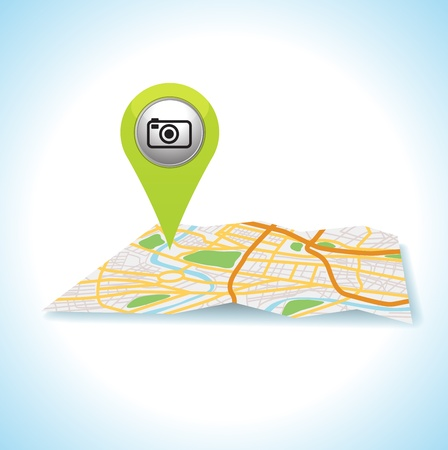 green camera pointer pin on map location  Vector