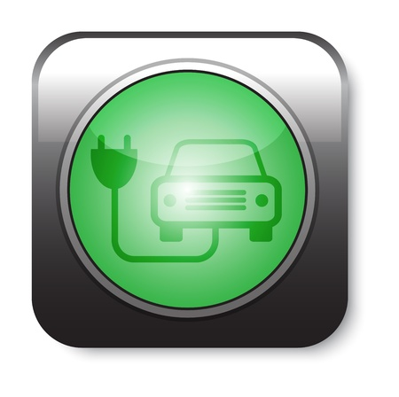 Green ecological electric car sign.  Vector