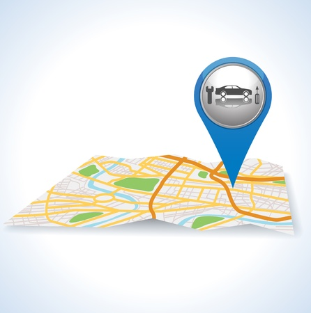 blue car pointer icon on map.  Vector